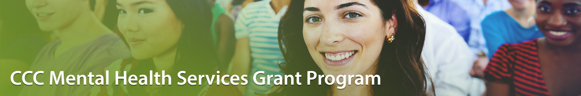 CCC Mental Health Services Grant Program page header with seated optimistic students