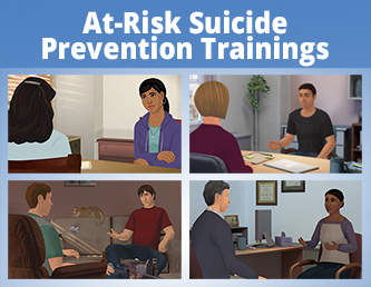 Screenshots of some interactive suicide prevention trainings available